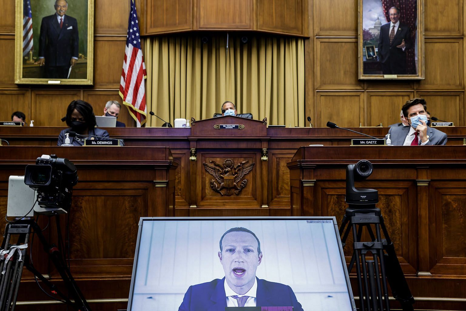 Facebook chief executive Mark Zuckerberg testifying before the US House Judiciary Subcommittee on Antitrust, Commercial and Administrative Law on online platforms and market power, at Capitol Hill, Washington, on Wednesday.