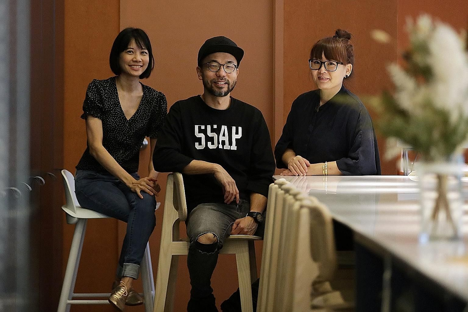 (From far left) Kki Sweets' new pastry chef Lin Jiawen with founders Kenneth Seah and Delphine Liau.