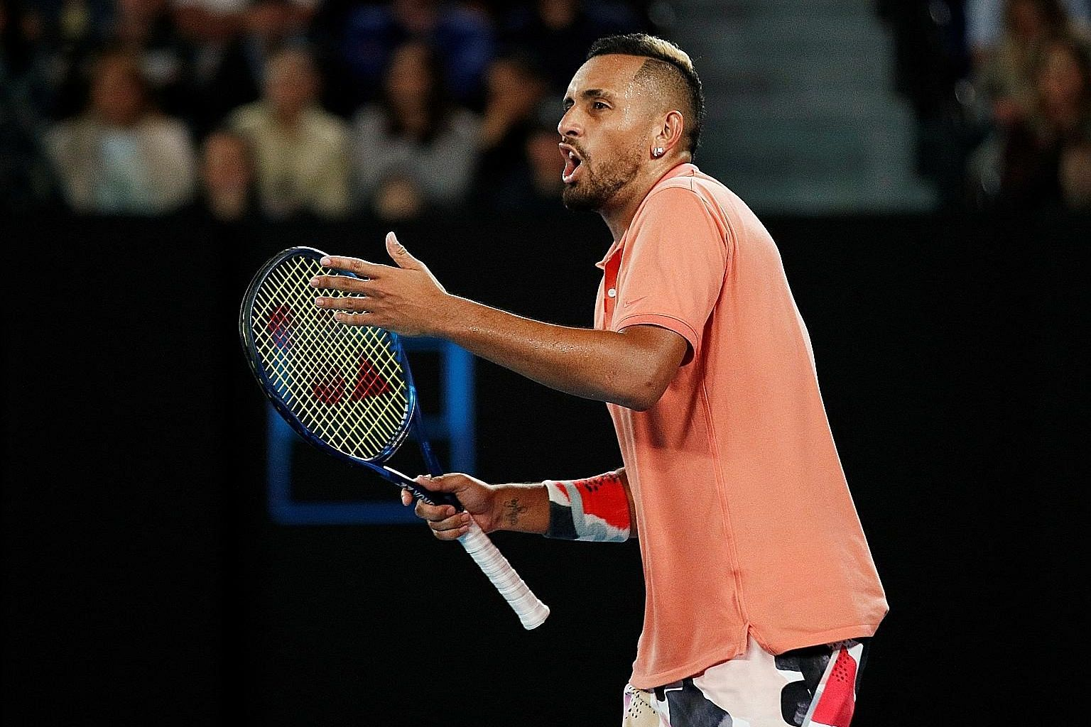 Nick Kyrgios reacting during his fourth-round loss to Rafael Nadal at the Australia Open in January. The Australian would play just one more match - at the Mexico Open in Acapulco in February - before the coronavirus pandemic halted the ATP season.