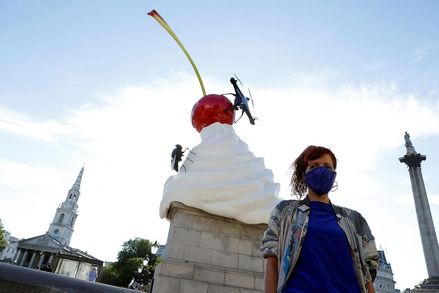 British artist Heather Phillipson's The End, installed on a plinth in Trafalgar Square, was conceived in 2016, not long after Britain voted to leave the European Union, and she had wanted the sculpture to look precarious because that was how the worl