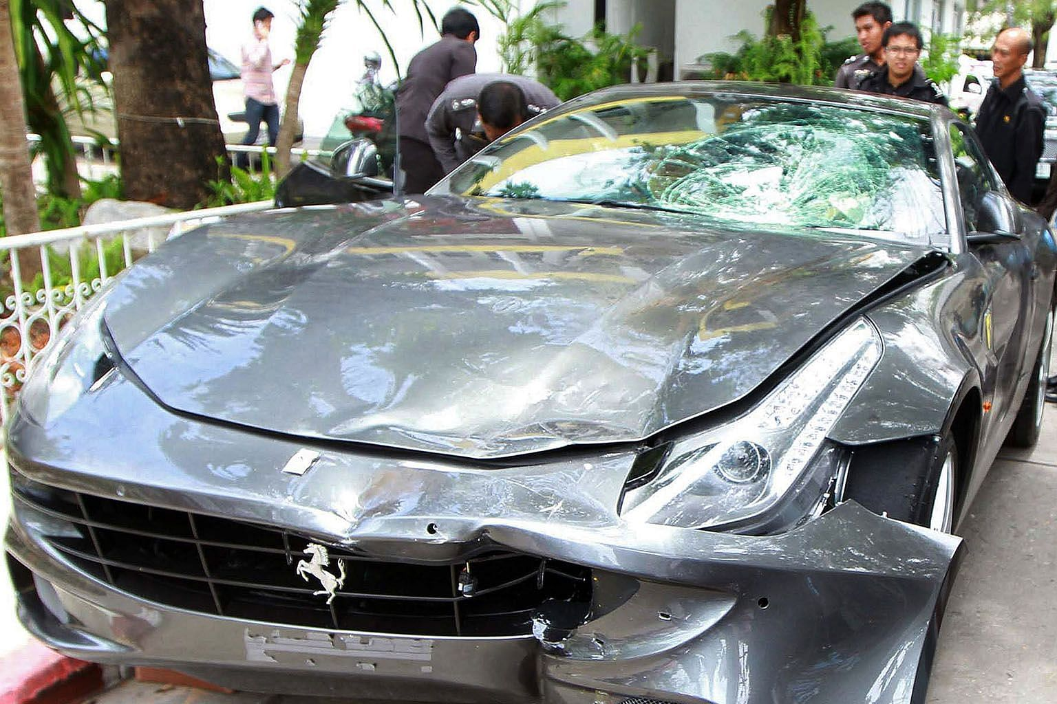 Red Bull fortune heir Vorayuth Yoovidhya (left) was accused of crashing his Ferrari into a Thai policeman, dragging his body for dozens of metres and fleeing the scene in 2012. Last month, the police said the charges against him were being dropped, b