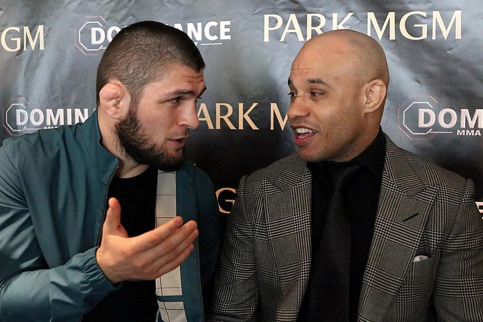 Khabib Nurmagomedov with his manager Ali Abdelaziz, who says talks are on for the MMA legend's younger cousin Usman to join the Singapore-based One.