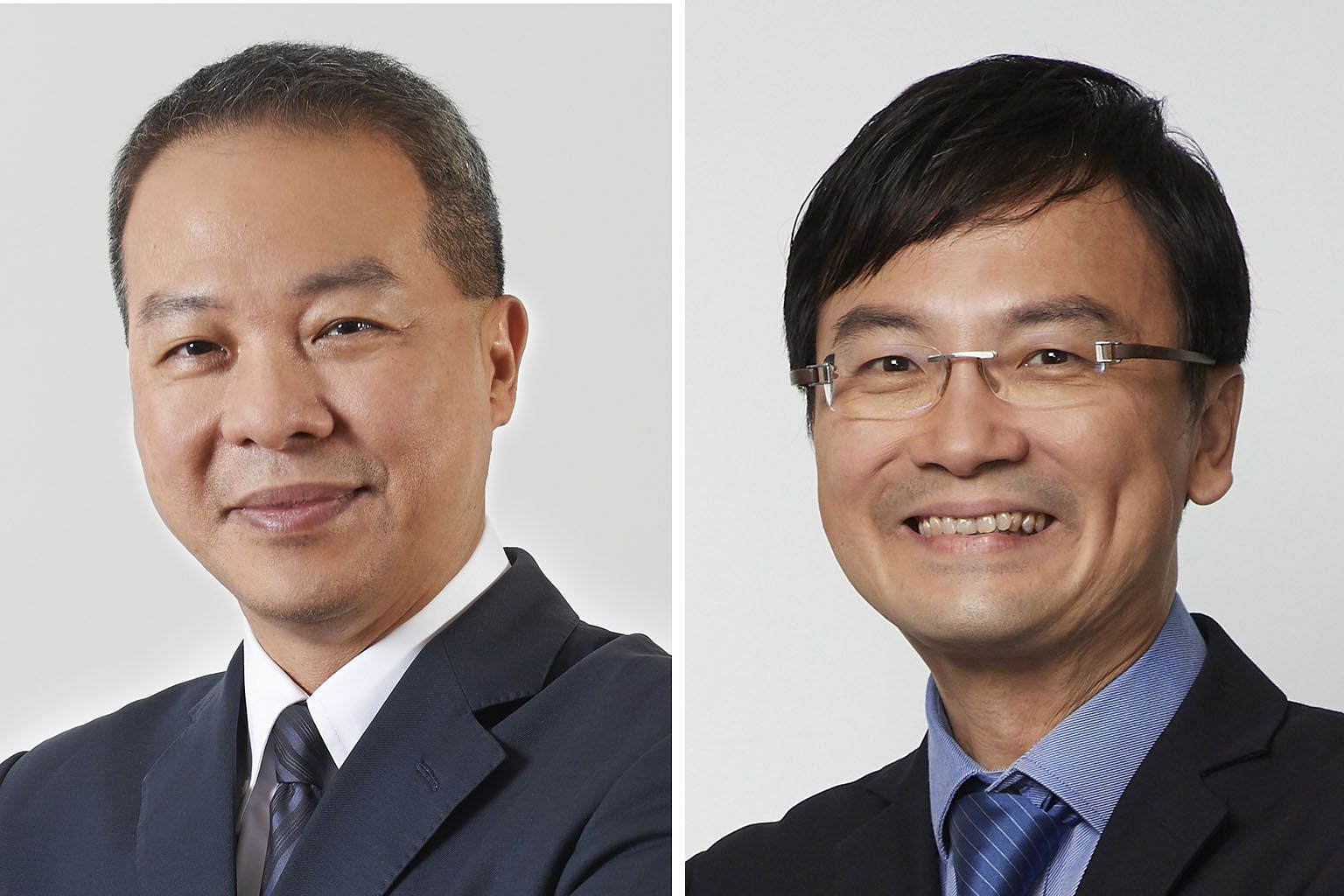 Current JTC chief Ng Lang (left) will replace Mr Ngien Hoon Ping at the Land Transport Authority.