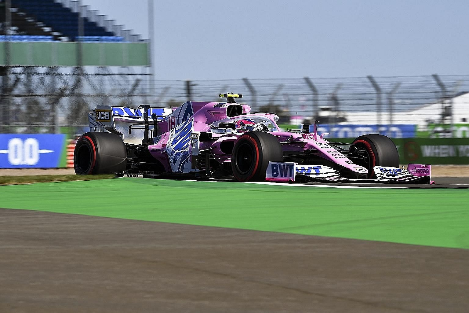 Lance Stroll of Racing Point during the first practice session of the 70th Anniversary Grand Prix at Silverstone yesterday. He and teammate Sergio Perez will keep their points in the drivers' standings.