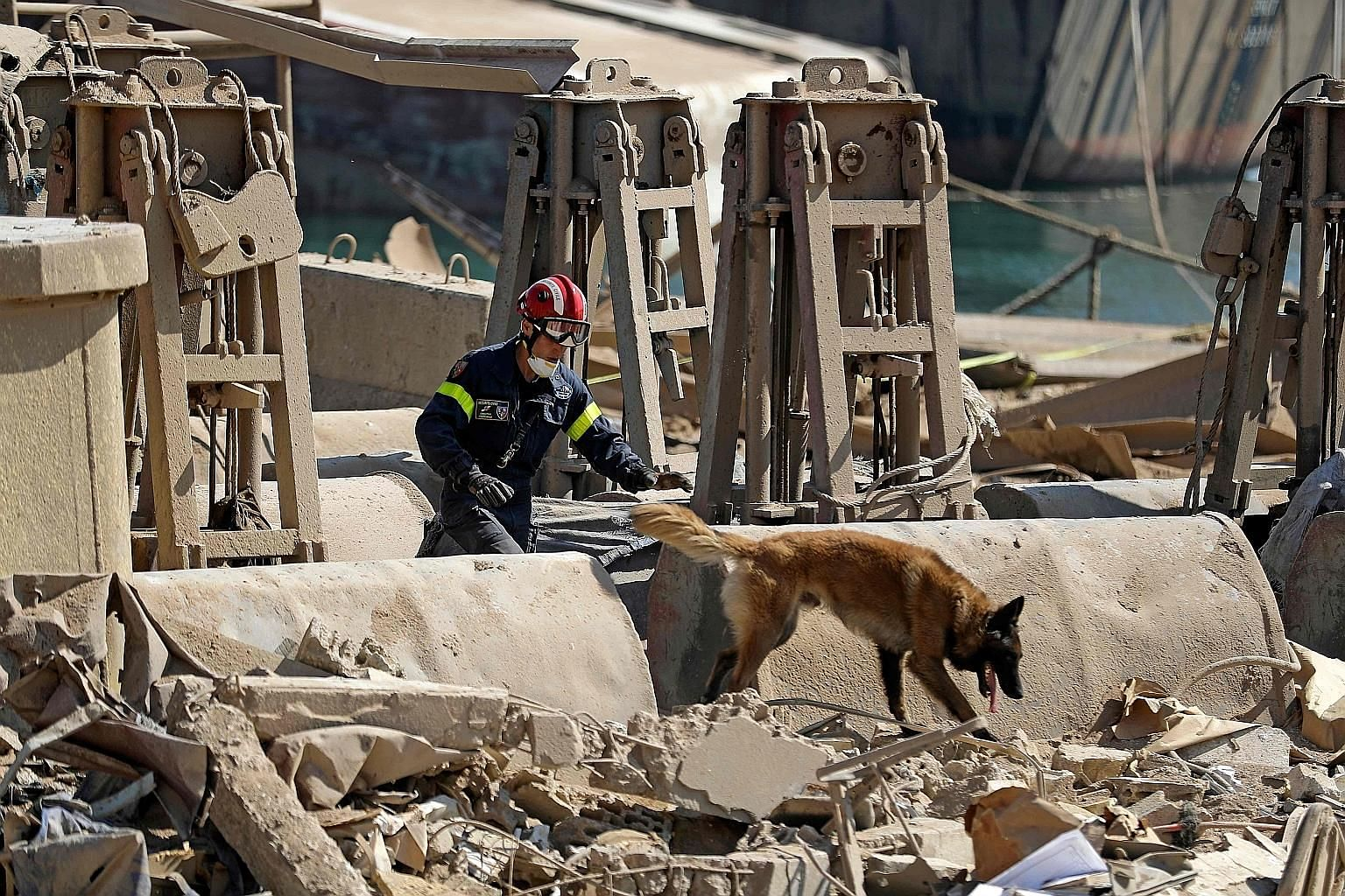 A French rescue worker and his sniffer dog searching for survivors at Beirut's devastated port yesterday, three days after a massive explosion shook the Lebanese capital - killing 154 people and injuring more than 5,000. PHOTO: AGENCE FRANCE-PRESSE