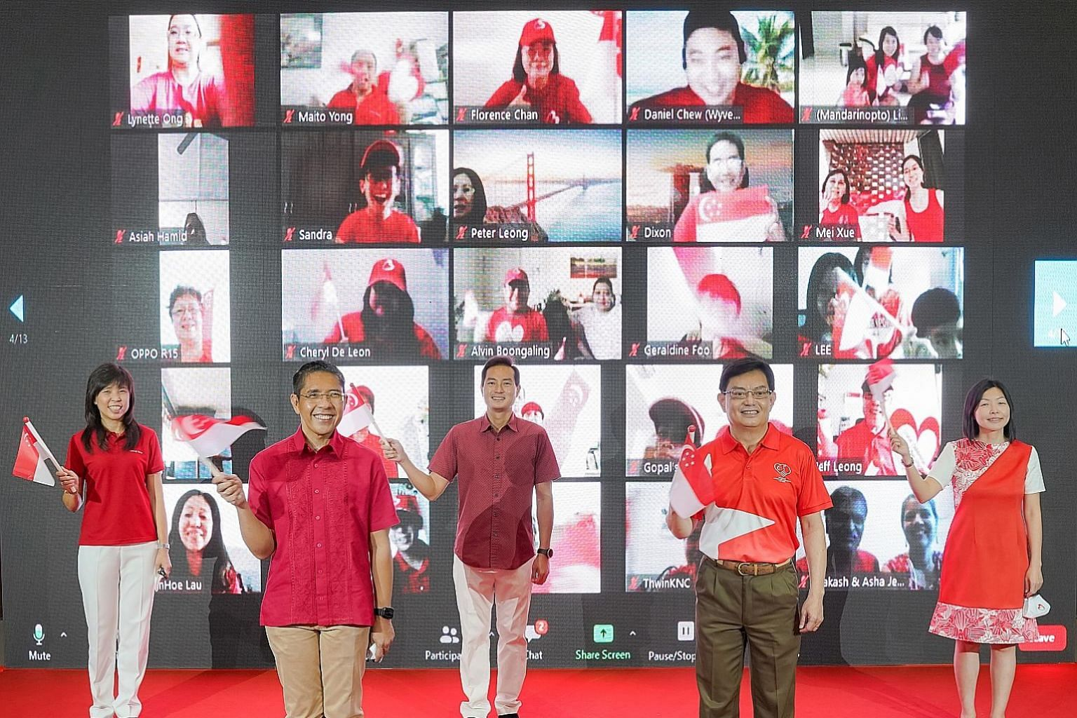 The five MPs for East Coast GRC(from left), Ms Jessica Tan, Dr Maliki Osman, Mr Tan Kiat How, Deputy Prime Minister Heng Swee Keat and Ms Cheryl Chan, during the National Day virtual observance ceremony in Bedok Community Centre yesterday. The sessio