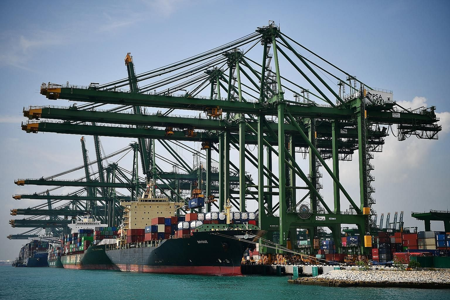 Activity at Pasir Panjang Terminal last October. The total number of vessel arrivals has fallen 39.8 per cent to 6,701 in June from 11,138 a year ago, while container volumes have dropped by 1 per cent in the first six months of this year from a year
