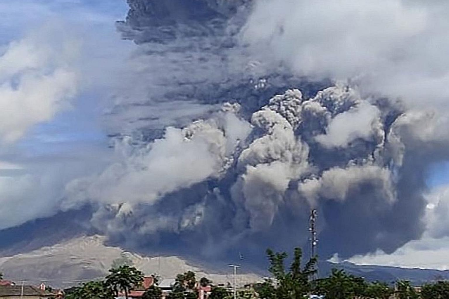 Mount Sinabung erupting yesterday. No casualties have been reported and a spokesman for the civil aviation authority said flights were still operating in the region.