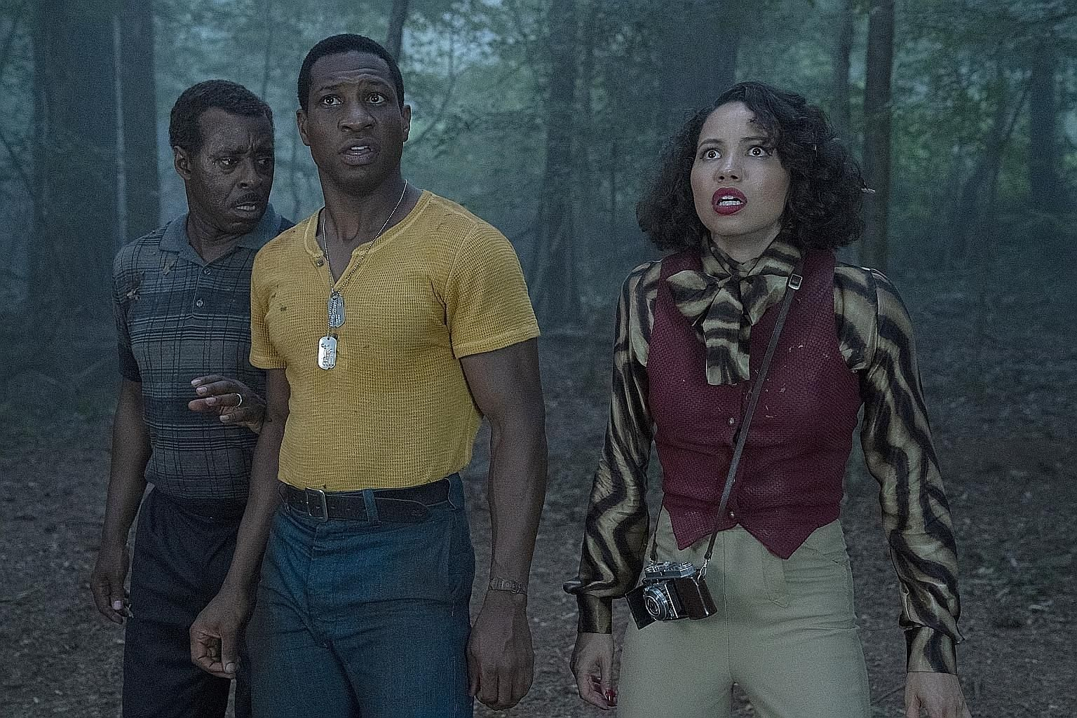Lovecraft Country is set in 1950s, segregation-era America and features (from far left) Courtney B. Vance, Jonathan Majors and Jurnee Smollett. The Nest, starring (from left) Sophie Rundle, Mirren Mack and Martin Compston, is a thriller about a coupl
