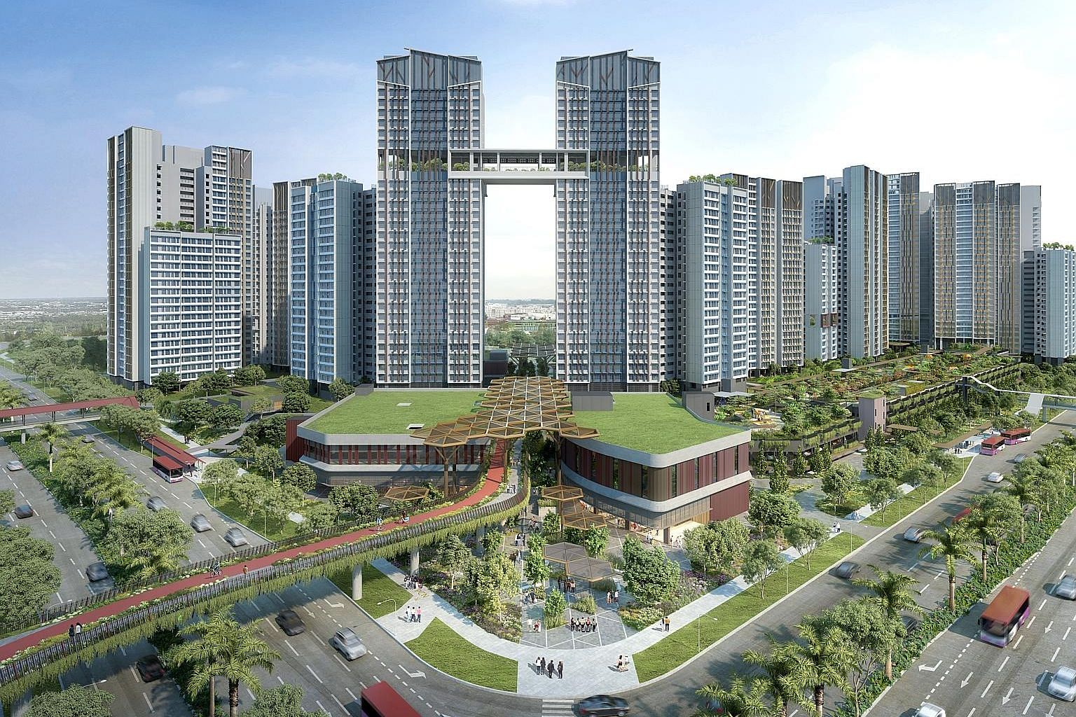 An artist's impression of UrbanVille @ Woodlands, which will offer 1,785 two-room flexi, three-room, four-room and five-room flats. It is the biggest Build-To-Order project in yesterday's launch.