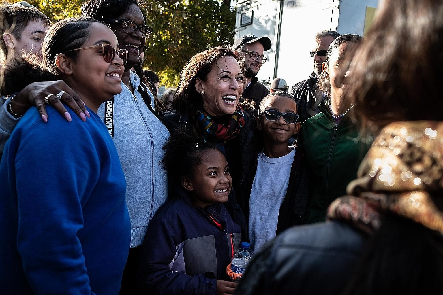 Senator Kamala Harris with supporters of her presidential campaign in Iowa last year. The daughter of Indian and Jamaican immigrants, Ms Harris has been a leading voice in her party on tackling anti-black racism. PHOTO: NYTIMES