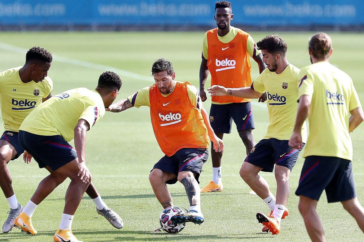 Barcelona captain Lionel Messi at a training session ahead of their Champions League quarter-final clash with Bayern Munich in Lisbon. Germany international Leon Goretzka says it will take a collective effort from Bayern Munich to stop the gifted Arg