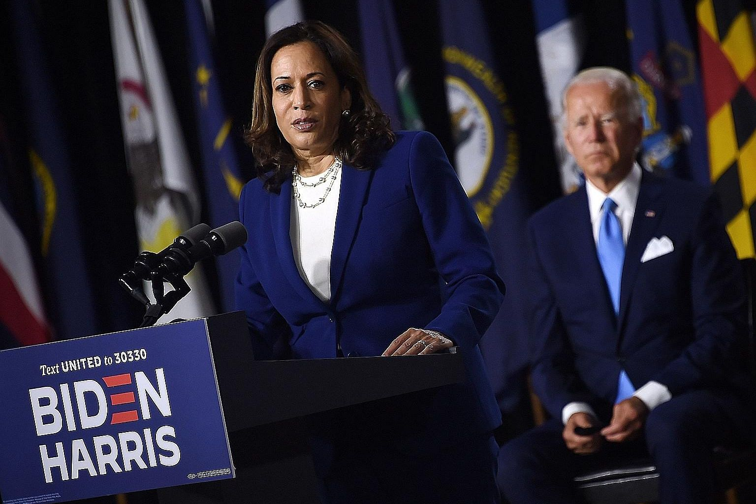 Democratic vice-presidential candidate Kamala Harris at her first joint press conference with the party's presidential candidate Joe Biden in Delaware on Wednesday. One thing Ms Harris brings to the ticket is the enthusiasm she generates, and that is