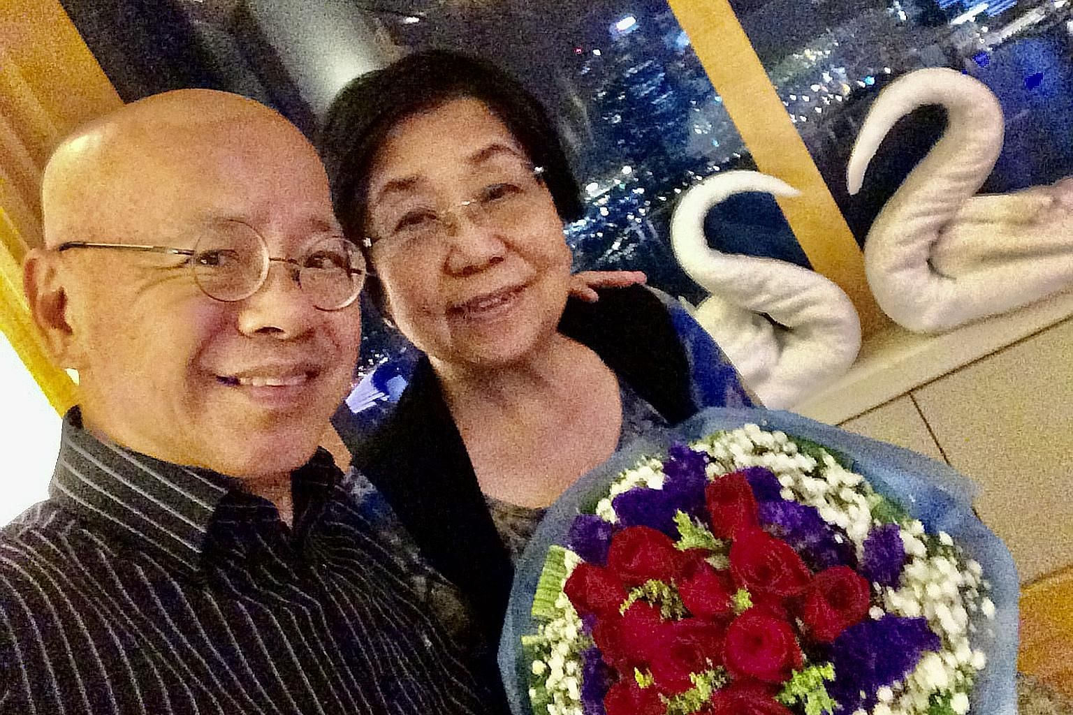 Singapore Kindness Movement general secretary William Wan and his wife Ruth celebrating their 45th wedding anniversary in 2015. After 55 years of working, he is grateful for having a wife of 50 years and a family of 11 scattered across the world.