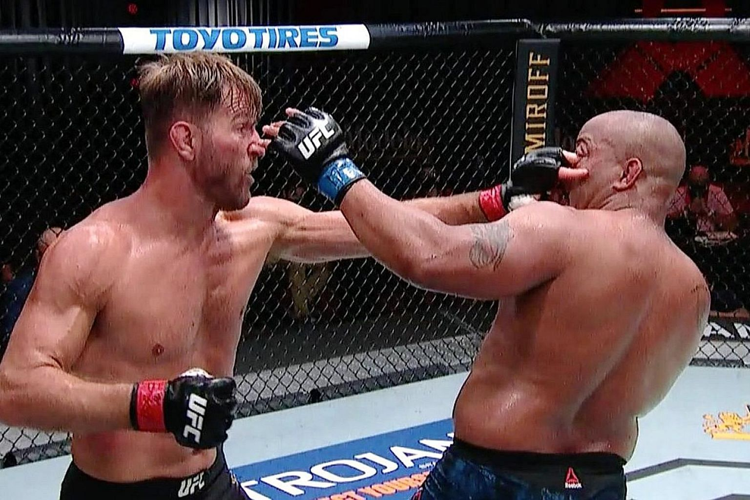 Stipe Miocic poking Daniel Cormier in the eye in the third round of the main fight of UFC 252 in Las Vegas on Saturday. The former Ultimate Fighting Championship (UFC) light heavyweight and heavyweight champion confirmed that he was retiring at age 4