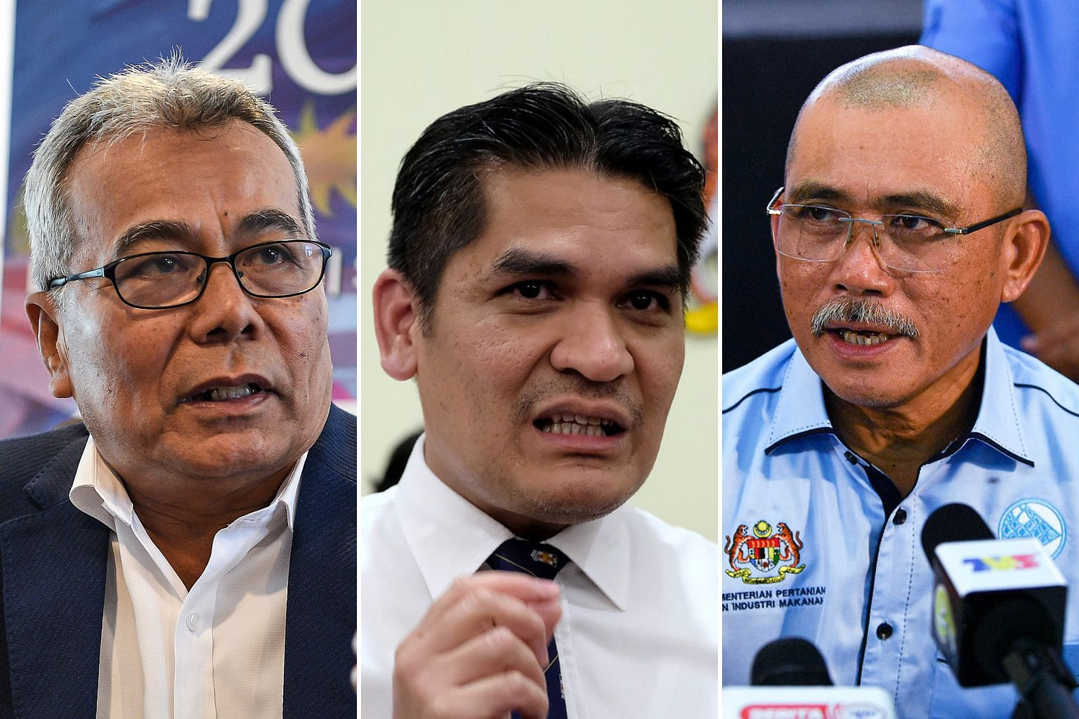 (Left, from top) Special Functions Minister Redzuan Yusof, Senior Minister for Education Radzi Jidin, and Agriculture and Food Industry Minister Ronald Kiandee are among seventeen candidates vying for three vice-president posts in Parti Pribumi Bersa