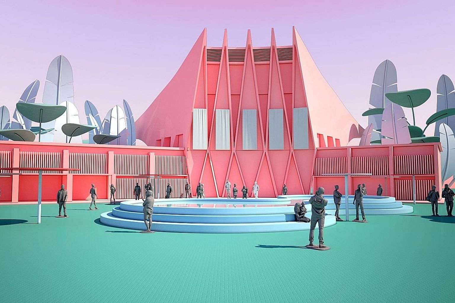 The 360-degree festival village in The Front Row has zones modelled after Singapore's cityscape, such as the Runway Room (above), which is a modern re-creation of the former National Theatre that was demolished in 1986. The virtual fashion festival w