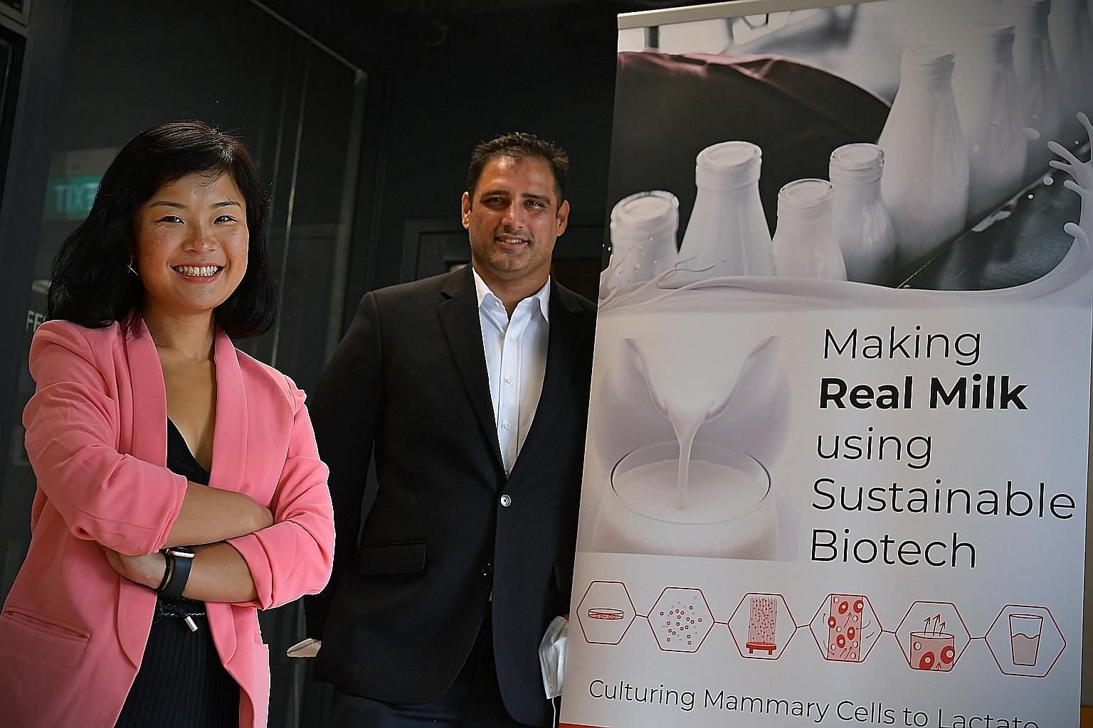 Chief executive Fengru Lin and chief strategist Max Rye of TurtleTree Labs, a start-up focusing on developing cell-based milk. It has been working on optimising a 5-litre production facility and intends to have a pilot plant in Singapore by the middl