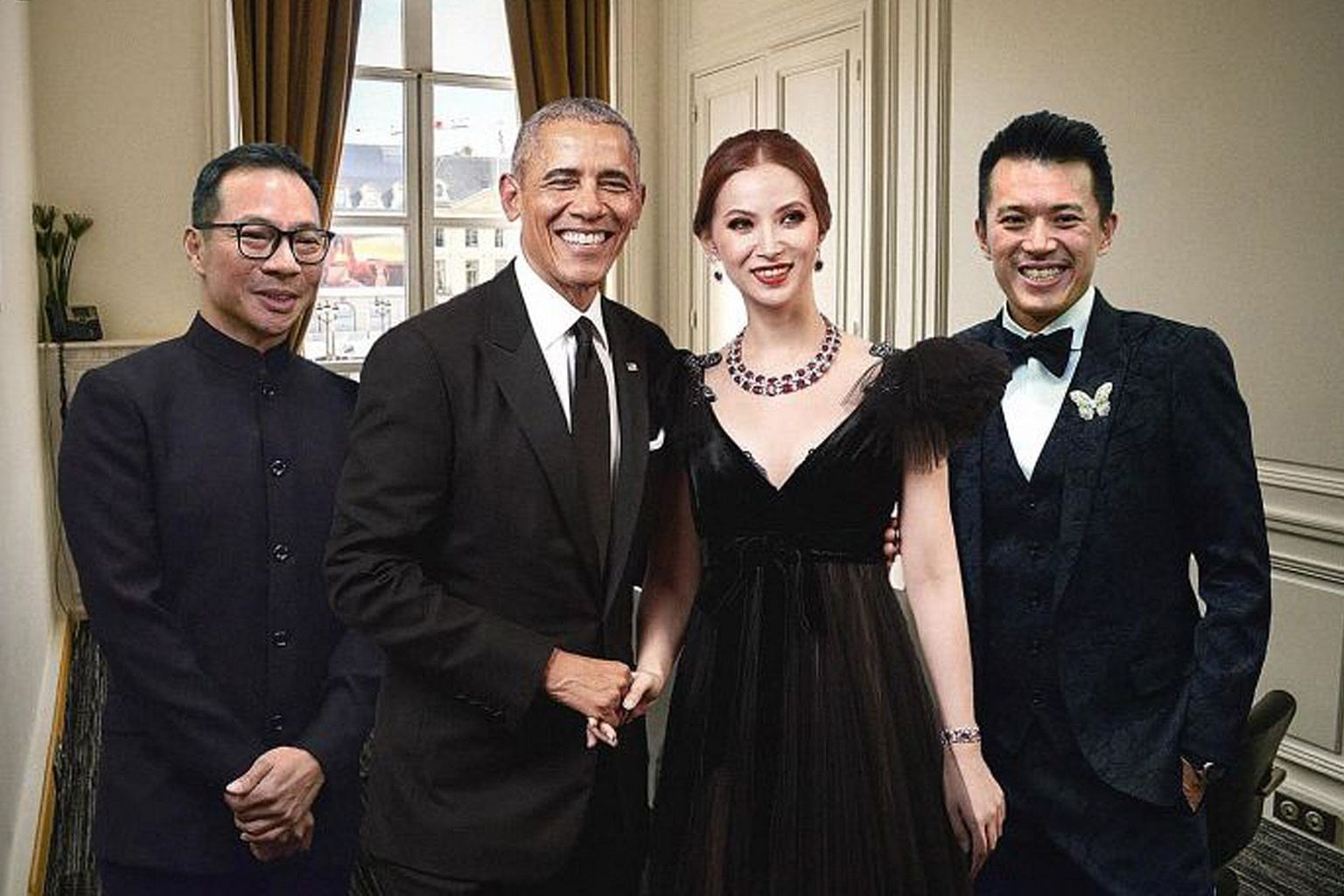 (Above) The group's chief marketing and investor relations officer Nereides Antonio Giamundo de Bourbon admitted to Reuters that it had doctored photos of Mr Obama to make them look as if he had attended a meeting with its executives in Paris.
