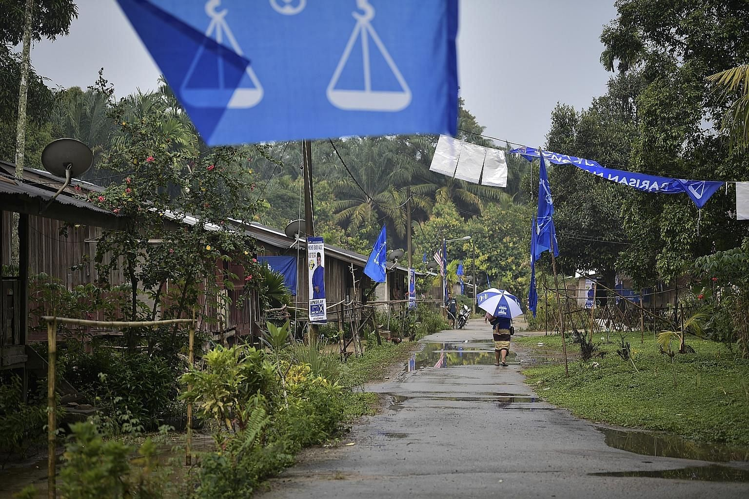 Flags and buntings in an Orang Asli village during the Slim by-election in Perak. Campaigning seemed lacklustre on the whole.