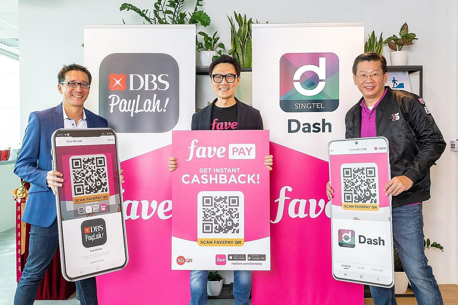 (From far left) Mr Edward Yue, head of DBS PayLah!, Mr Ng Aik-Phong, regional managing director of Fave Singapore and Malaysia, and Mr Gilbert Chuah, head of mobile financial services at Singtel's International Group, at yesterday's event to announce