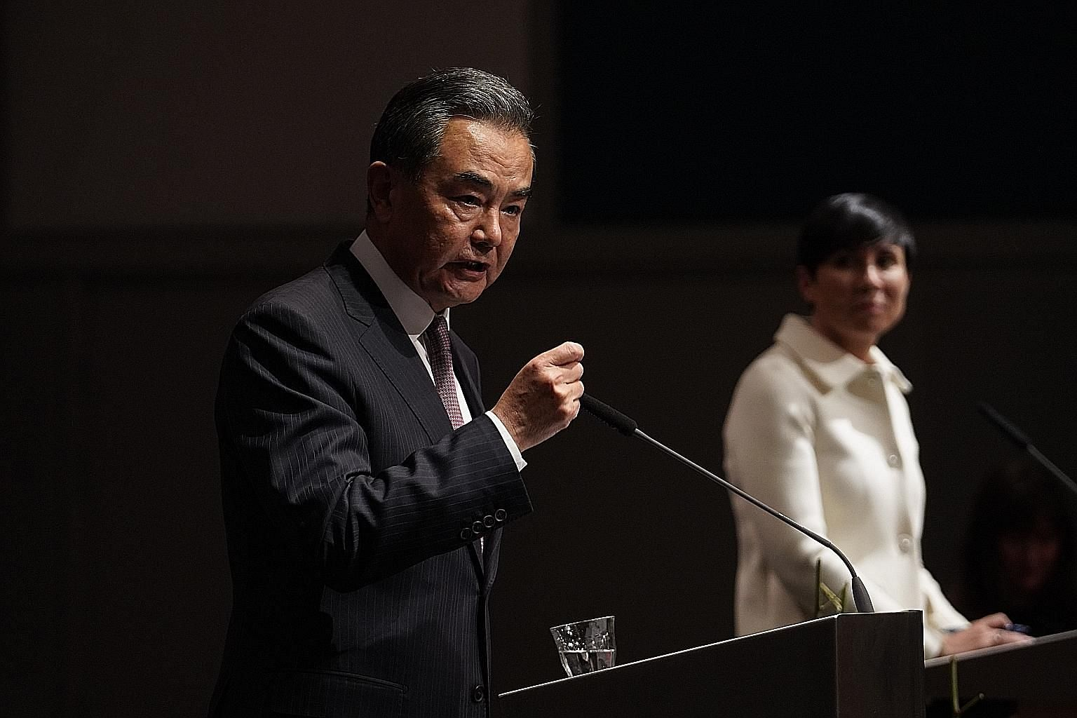 Chinese Foreign Minister Wang Yi speaking on Thursday at a press conference in Oslo, with Norway's Foreign Minister Ine Eriksen Soreide next to him.
