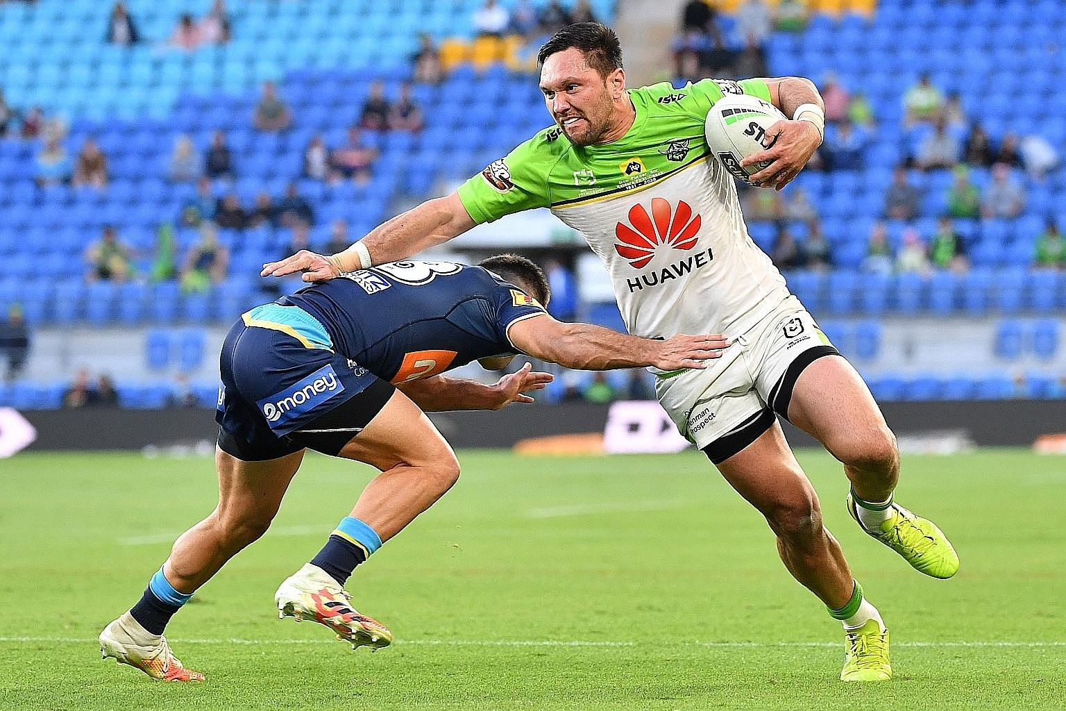 Huawei has backed the Canberra Raiders for almost a decade, with its logo and name on the front of the playing kit. PHOTO: EPA-EFE