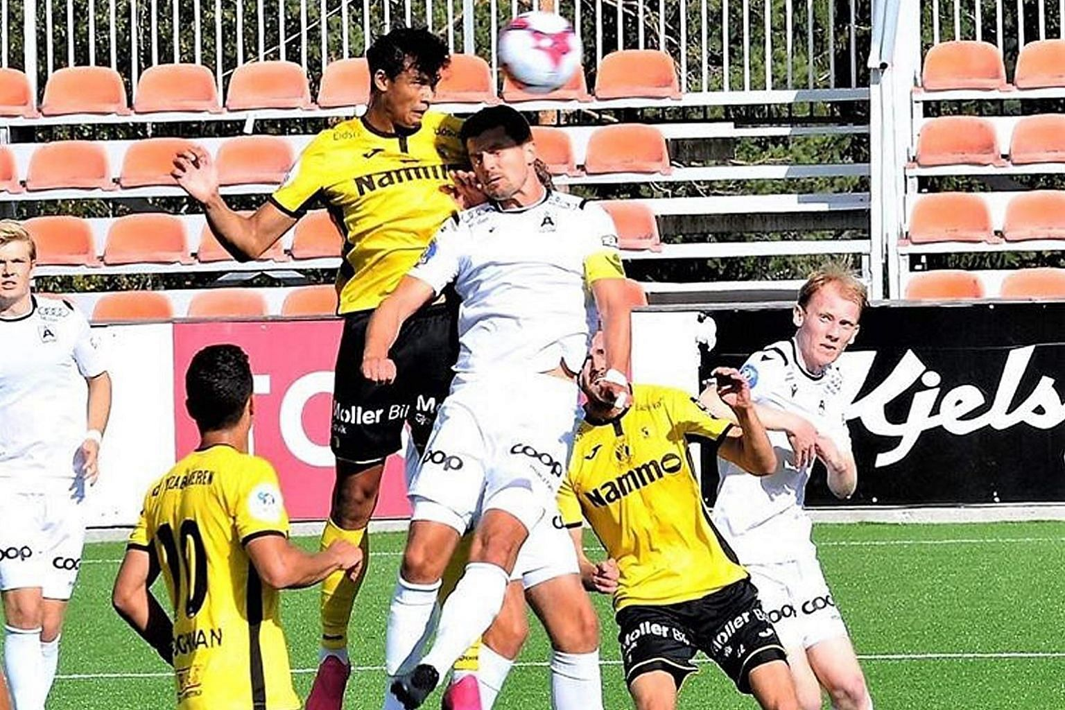 Singaporean Ikhsan Fandi heading home Raufoss' second goal against Asane for the 3-1 win in the second division of the Norwegian league on Sunday. PHOTO: COURTESY OF KNUT BEFRING