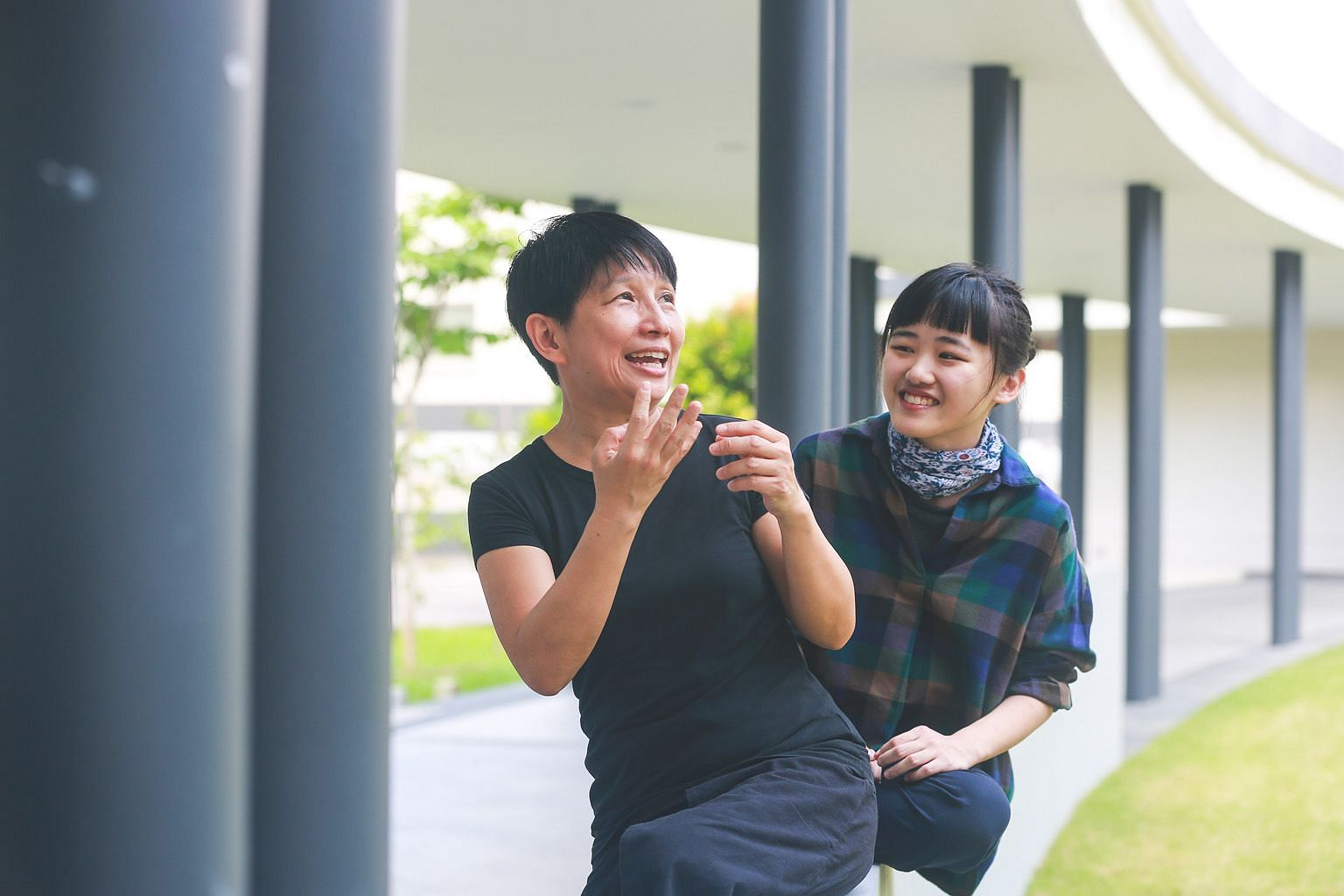 Veteran theatre performer Ang Gey Pin (top, left) and her former student Ranice Tay (top, right) will collaborate in Dreamtalk (above), a physical theatre piece where a guardian watches over a young dreamer.