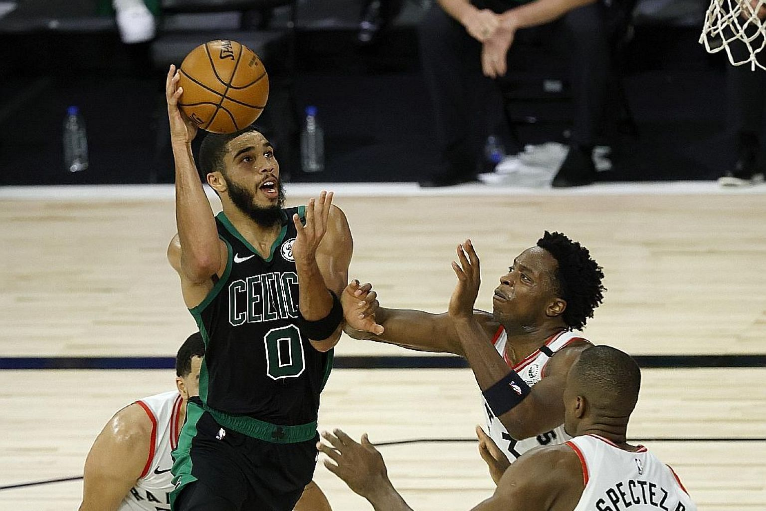 Celtics forward Jayson Tatum going to the basket against the Toronto Raptors during their Eastern Conference semi-finals. He finished with a game-high 34 points.