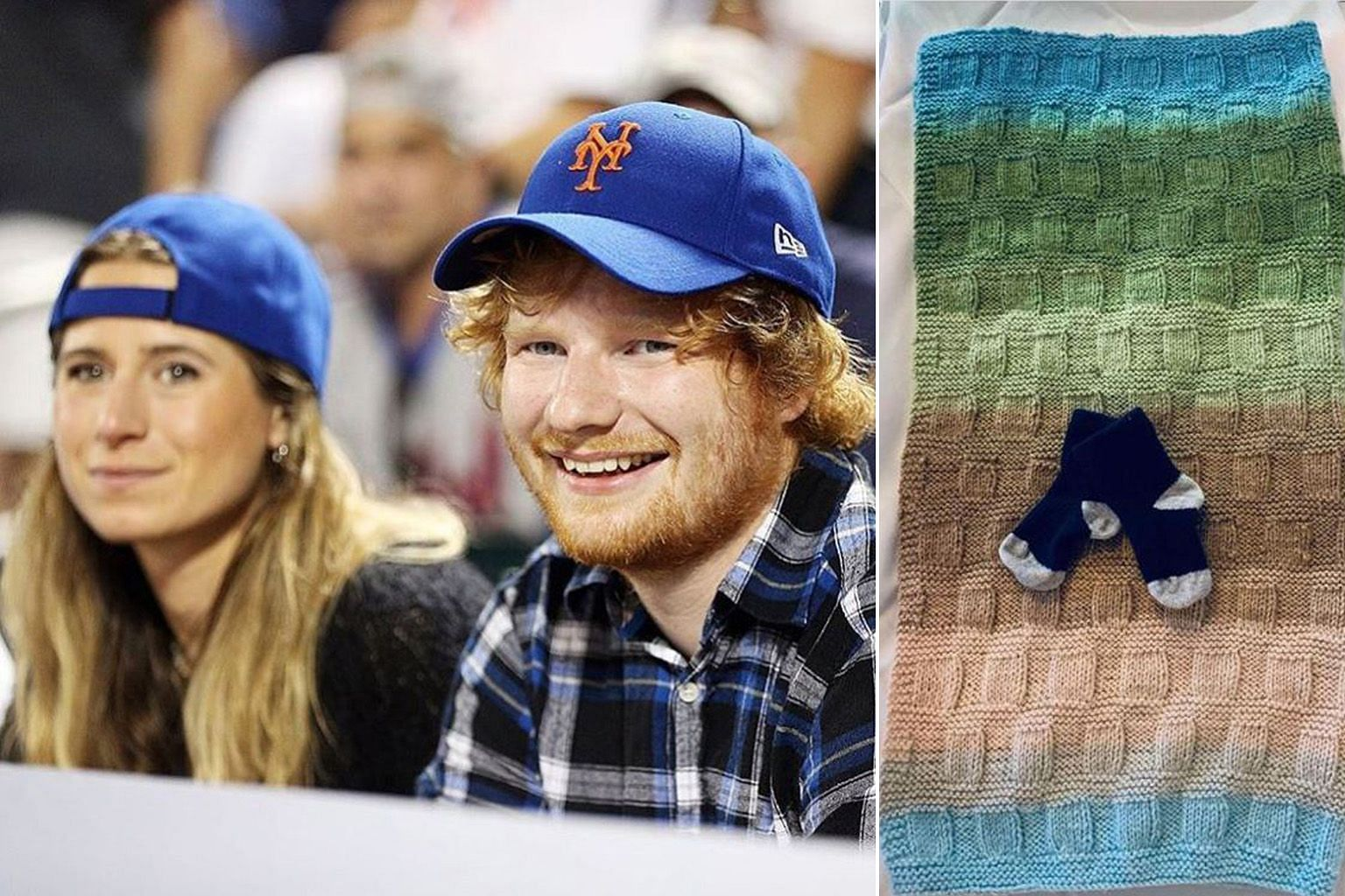 Ed Sheeran (below, with wife Cherry Seaborn) announced the birth of his first child with a photo of a pair of tiny socks on Instagram.