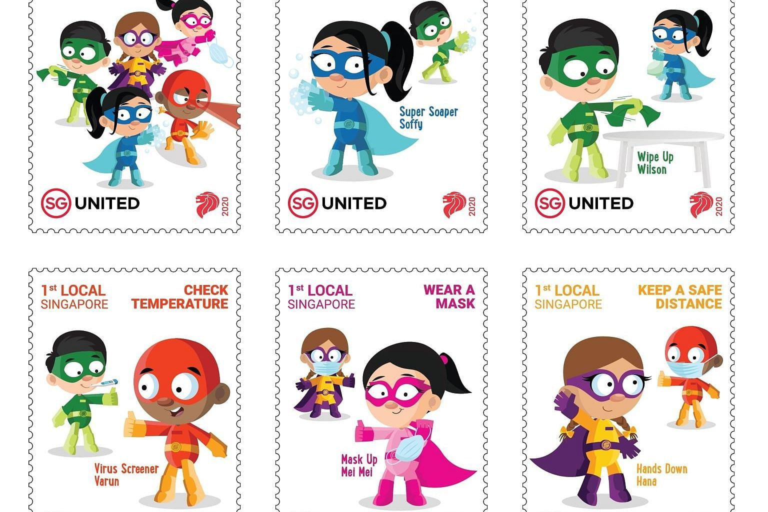 The set of six superhero-themed stamps, released as part of a tie-up between SingPost and MOE in tribute to members of the education fraternity for their hard work in ensuring a safe learning environment amid the pandemic.