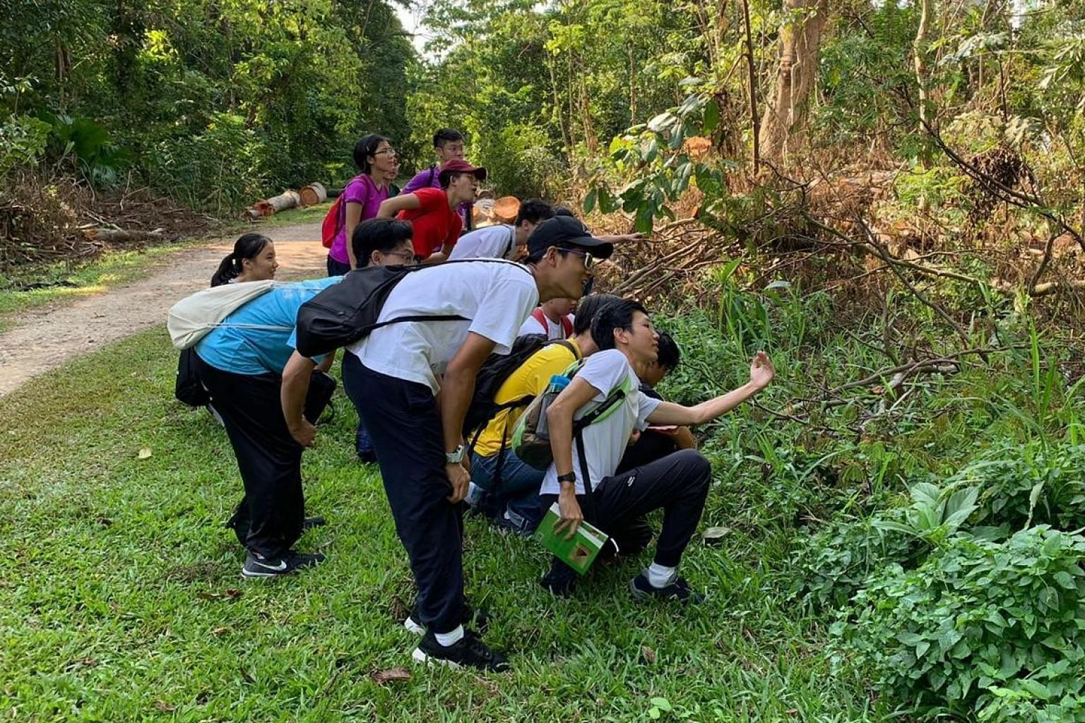 Students leading a nature walk at the Rail Corridor under Project Cynefin, started by Hwa Chong Institution students to raise awareness of wildlife here. PHOTO: HWA CHONG INSTITUTION National Development Minister Desmond Lee (second from left) with y