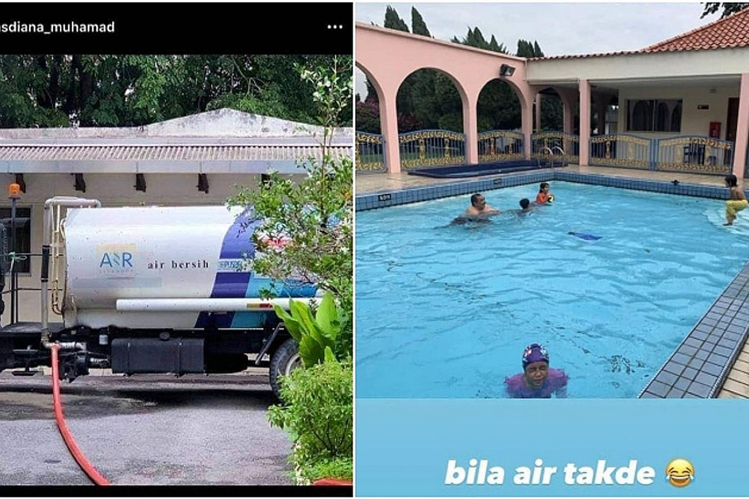 A screenshot of pictures said to be taken from Datin Seri Masdiana Muhamad's Instagram account showing a water tanker in front of the family home and their swimming pool. PHOTO: MASDIANA MUHAMAD/ INSTAGRAM