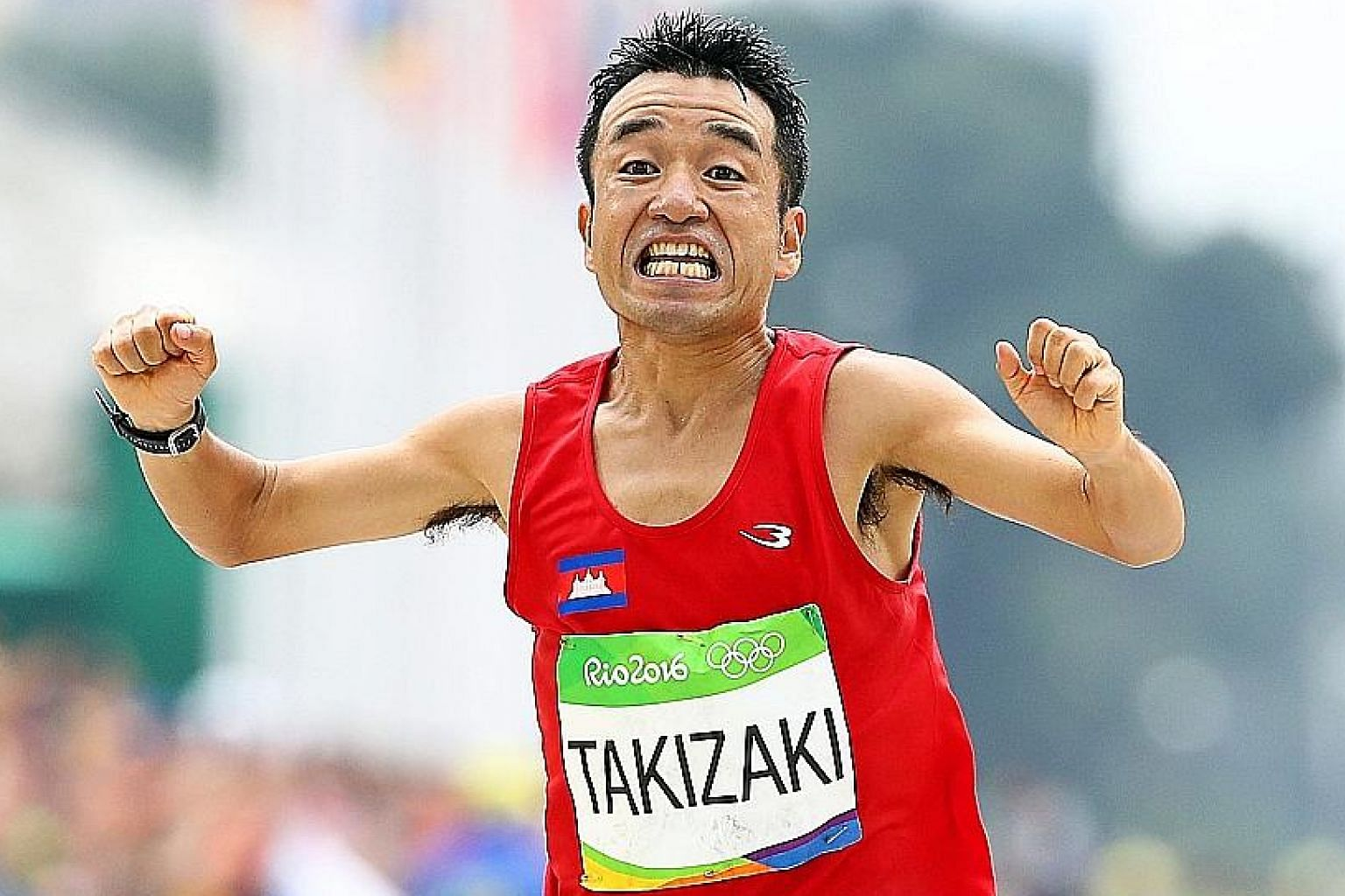 Kuniaki Takizaki of Cambodia was among the 12-man field in the marathon event at the 2015 SEA Games in Singapore. He is a plaintiff's witness in Ashley Liew's defamation suit against former teammate Soh Rui Yong. PHOTO: EPA-EFE