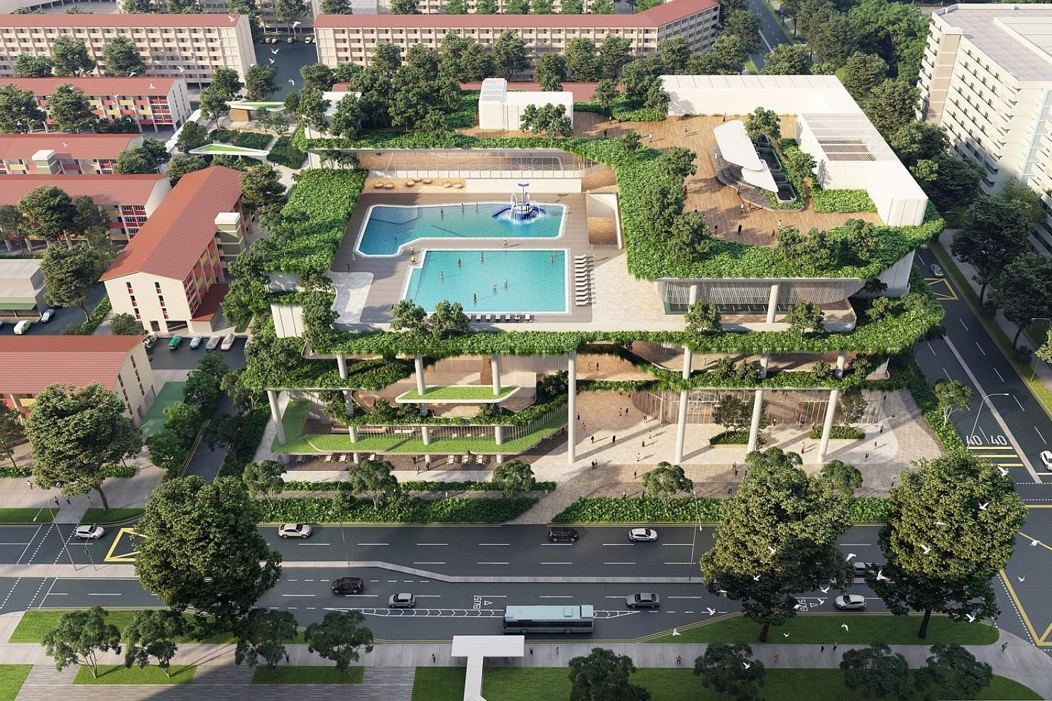 An artist's impression of Chill @ Chong Pang, which will include swimming pools, a gym, an upgraded hawker centre and a community club. PHOTO: SINGAPORE LAND AUTHORITY