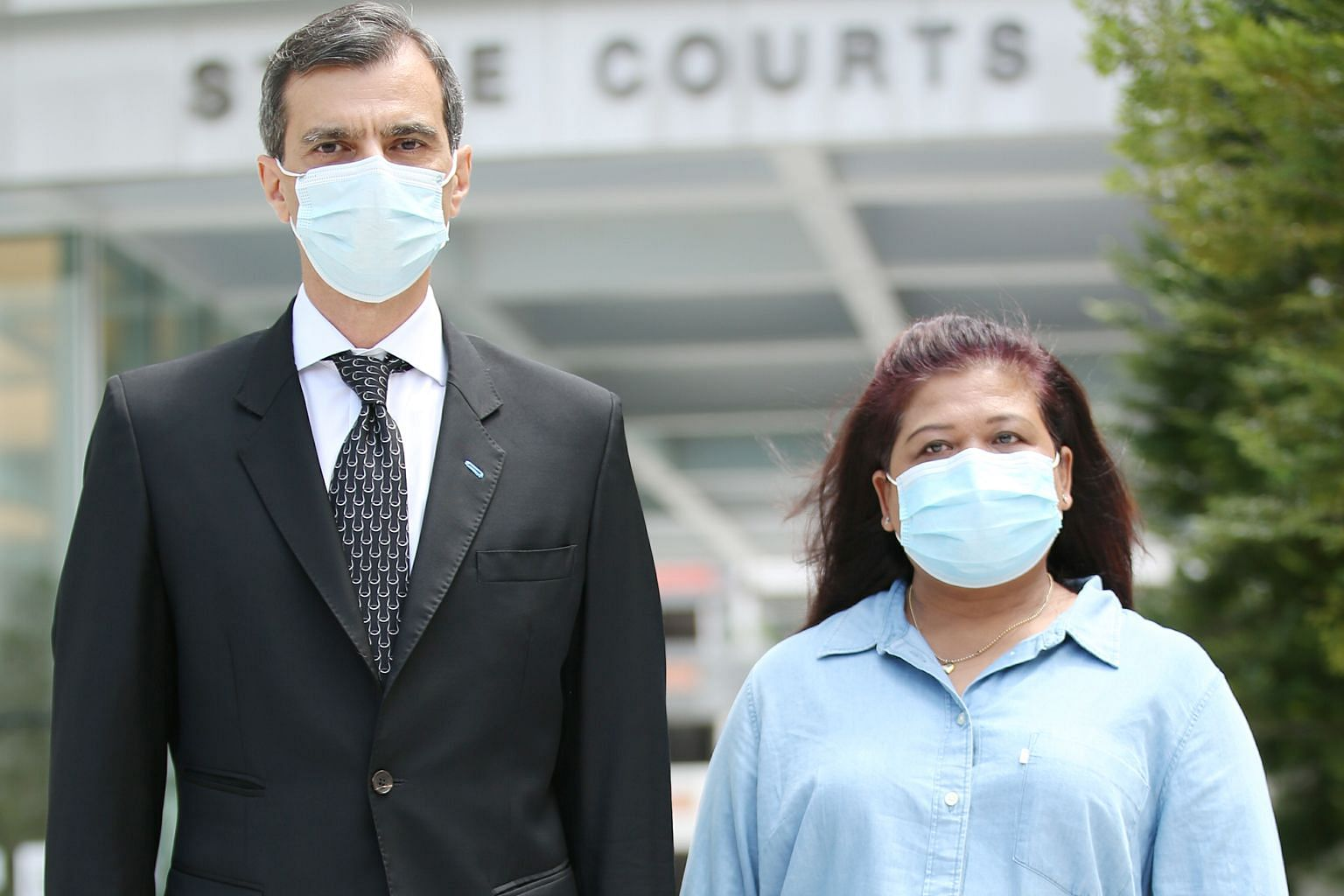 "Former domestic helper Parti Liyani, seen here with her lawyer Anil Balchandani leaving the State Courts yesterday, was suspected of having ""fraudulently obtained"" 18 items and was accused of failing to give a satisfactory account of how she obtained"
