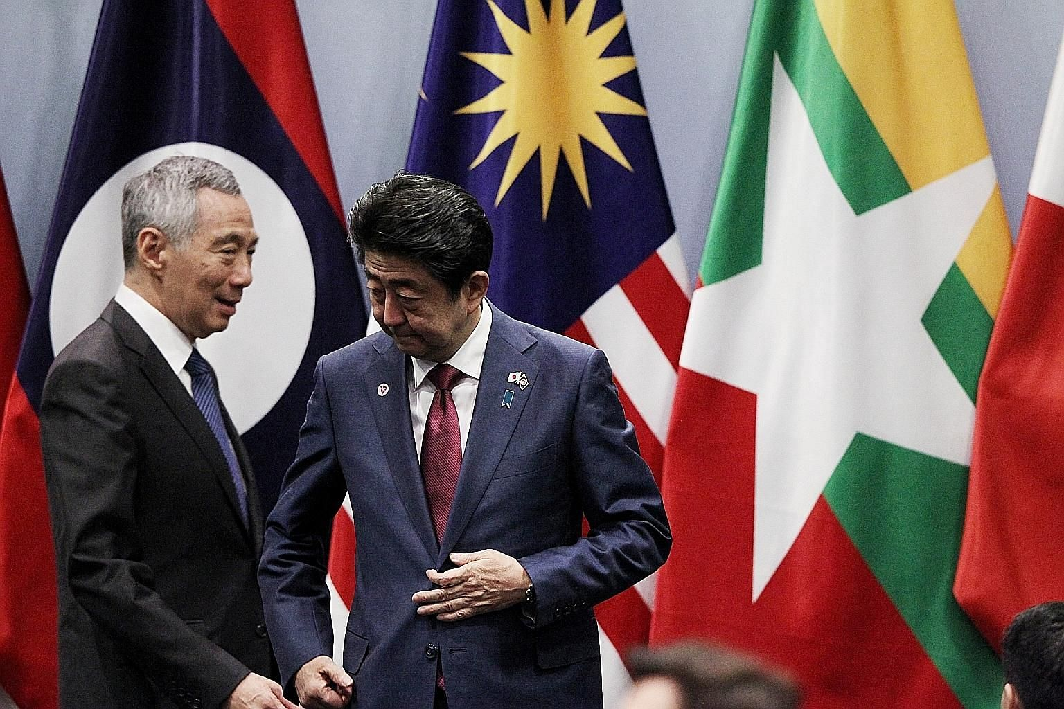 Prime Minister Lee Hsien Loong with his Japanese counterpart Shinzo Abe at a summit in Singapore in 2018. PM Lee said after Mr Abe's resignation last month that he has worked very well with the Japanese leader.