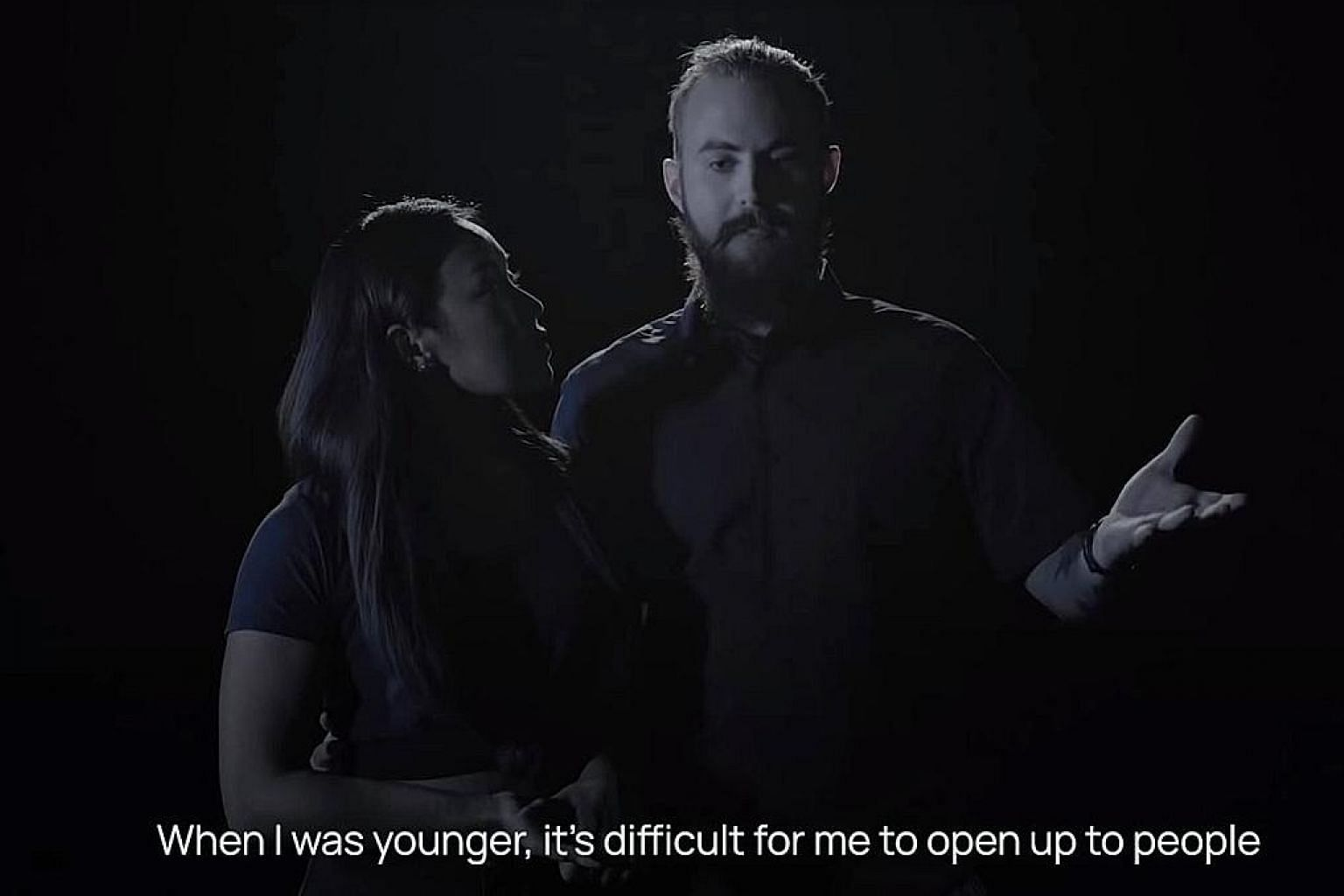 A screengrab of Mr Matthew Wong-Stewart, 26, talking about his struggles with mental health issues in a video for Samaritans of Singapore's #SuicideSeesNoGender campaign. With him is his wife, Singaporean business owner Cherie Wong-Stewart, 30. The c