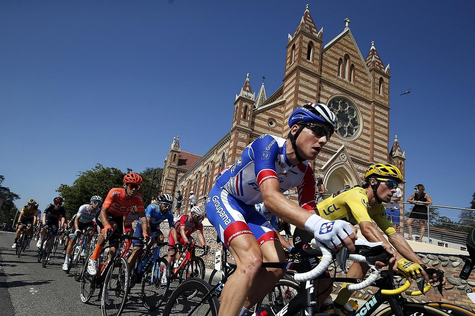 NTT's new race centre website offers cycling enthusiasts a more in-depth look at Tour de France cyclists such as overall leader Primoz Roglic (right) of Jumbo-Visma. PHOTO: EPA-EFE