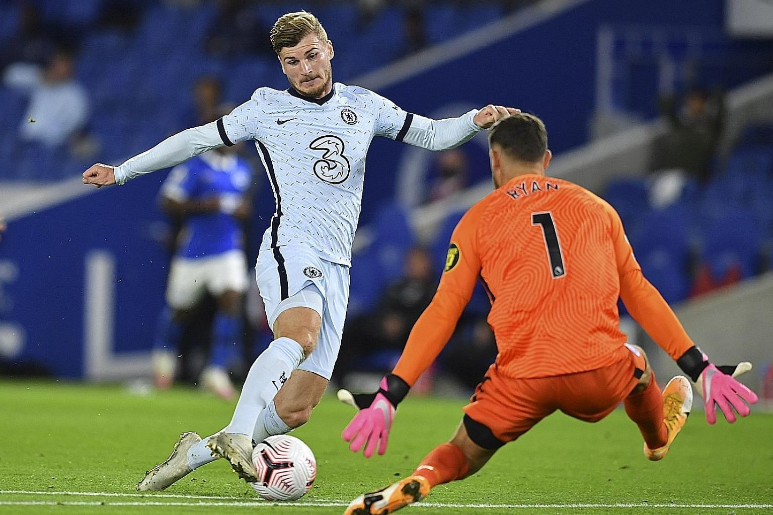 Timo Werner winning Chelsea's spot kick after being brought down by Brighton goalkeeper Mat Ryan. Blues' boss Frank Lampard feels his speed will pose a big threat to rival defences. PHOTO: EPA-EFE