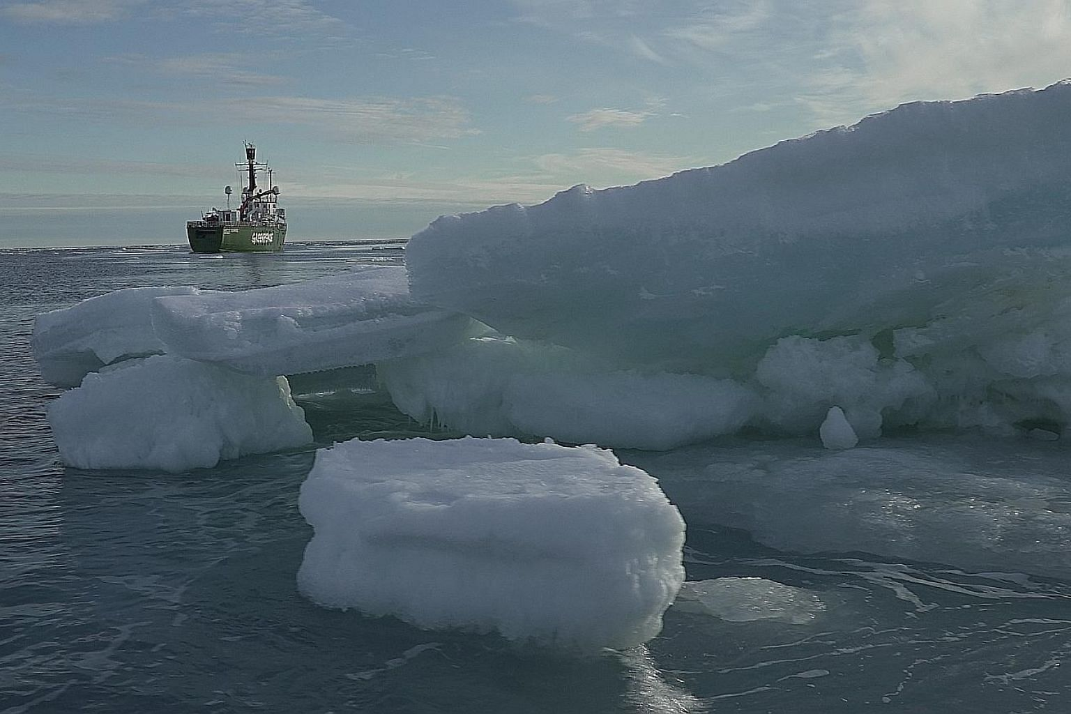 Floating ice in the Arctic Ocean this week. While it is normal for pieces of ice to break off from a glacier, they are generally not as large as the chunk - estimated to be about one-sixth the size of Singapore - that split from the glacier in north-