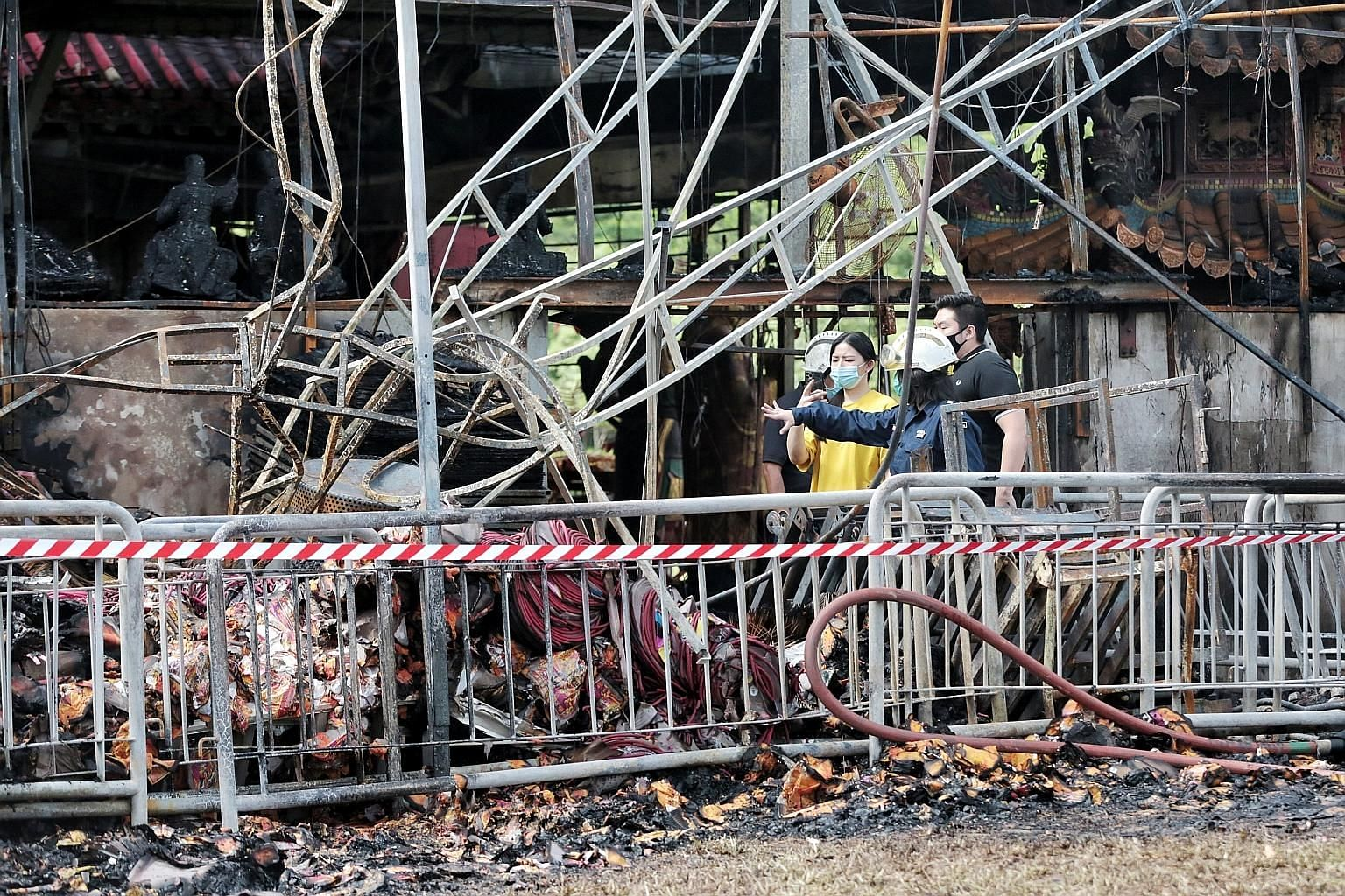 The blaze at the Sembawang God of Wealth Temple, which took three hours for 62 firefighters to put out, claimed the lives of three dogs. The animals were among seven stray dogs that were cared for by the temple whose 9.44m-tall statue of the God of W