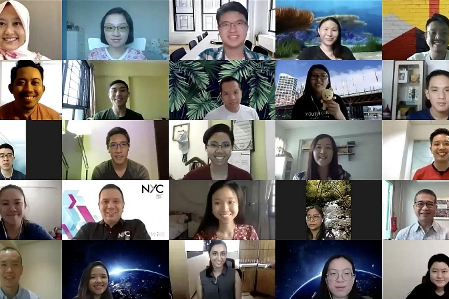 Minister for Culture, Community and Youth and Second Minister for Law Edwin Tong (rightmost column, fourth from top) taking part in a virtual dialogue with 50 people aged between 15 and 35 yesterday. PHOTO: NATIONAL YOUTH COUNCIL The dialogue followe