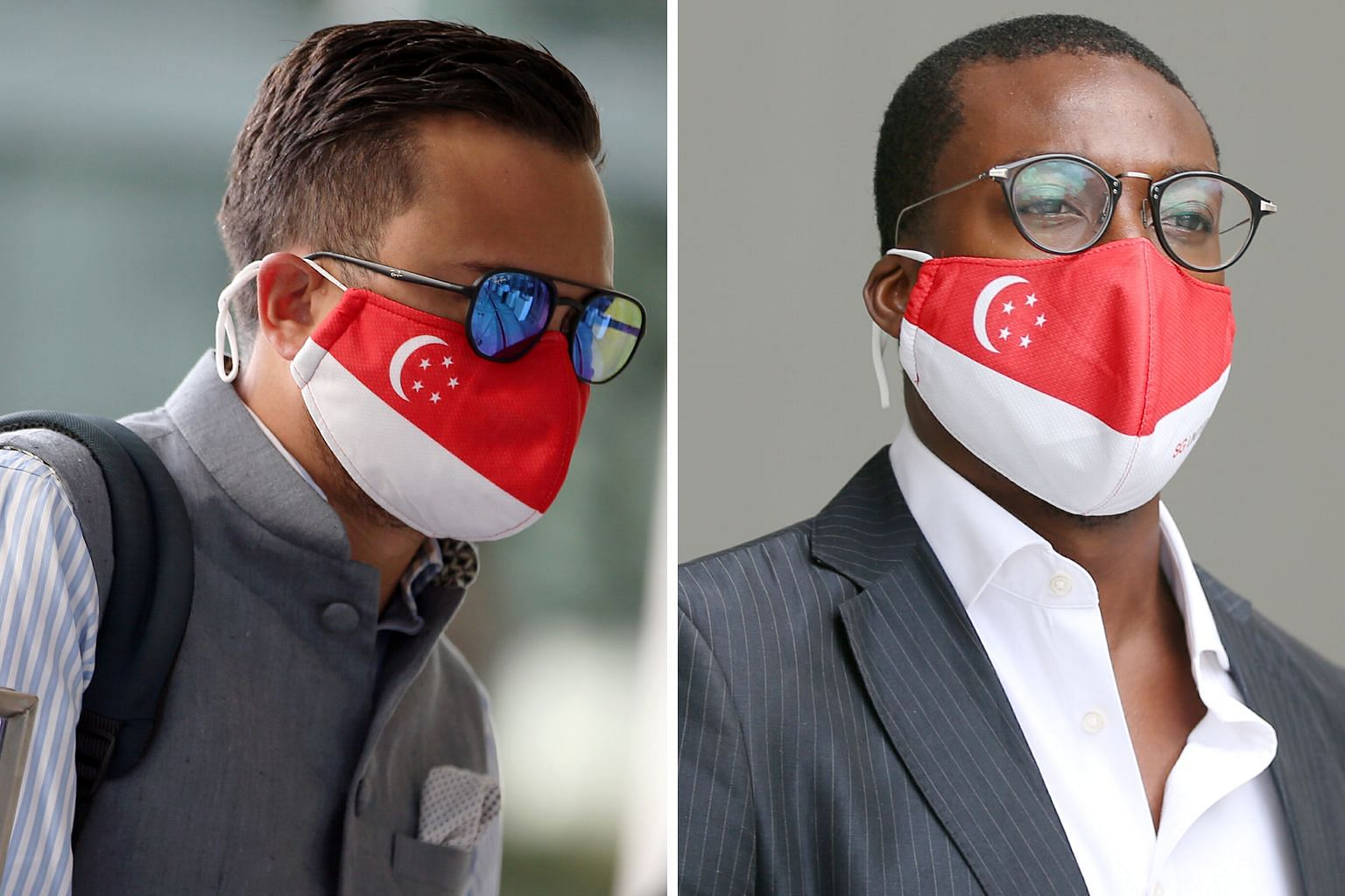 Alfred Jon Veloso Waring (left) was fined $8,000, while Olagunju Daniel Olalekan Olasunkanmi was fined $8,500. The two British nationals flouted safety rules by gathering with others at Robertson Quay in May. ST PHOTOS: WONG KWAI CHOW