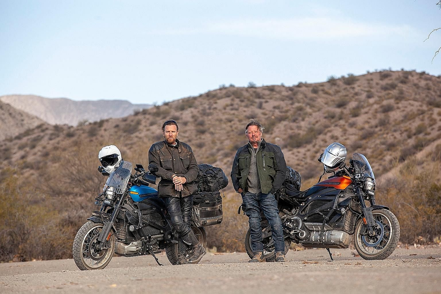 In Long Way Up, friends and motorbike enthusiasts Ewan McGregor (far left) and Charley Boorman (left) go on a motorcycle trip that takes them from Patagonia in Argentina to Los Angeles.
