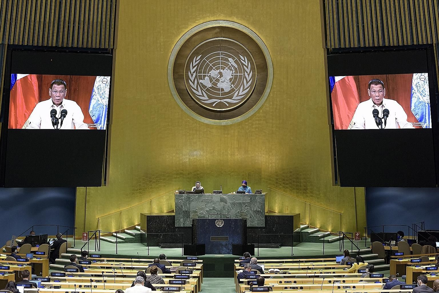 Philippine President Rodrigo Duterte making his virtual address to the 75th General Assembly of the United Nations in New York on Tuesday.