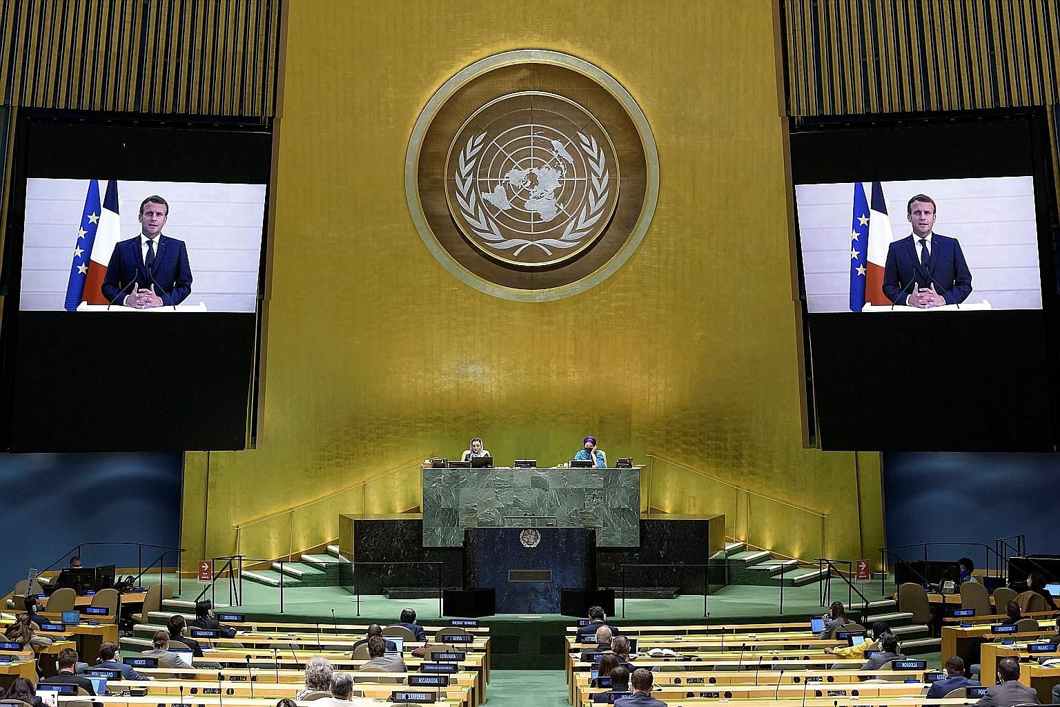 French President Emmanuel Macron making a virtual address to the 75th annual United Nations General Assembly in New York City on Tuesday. PHOTO: REUTERS
