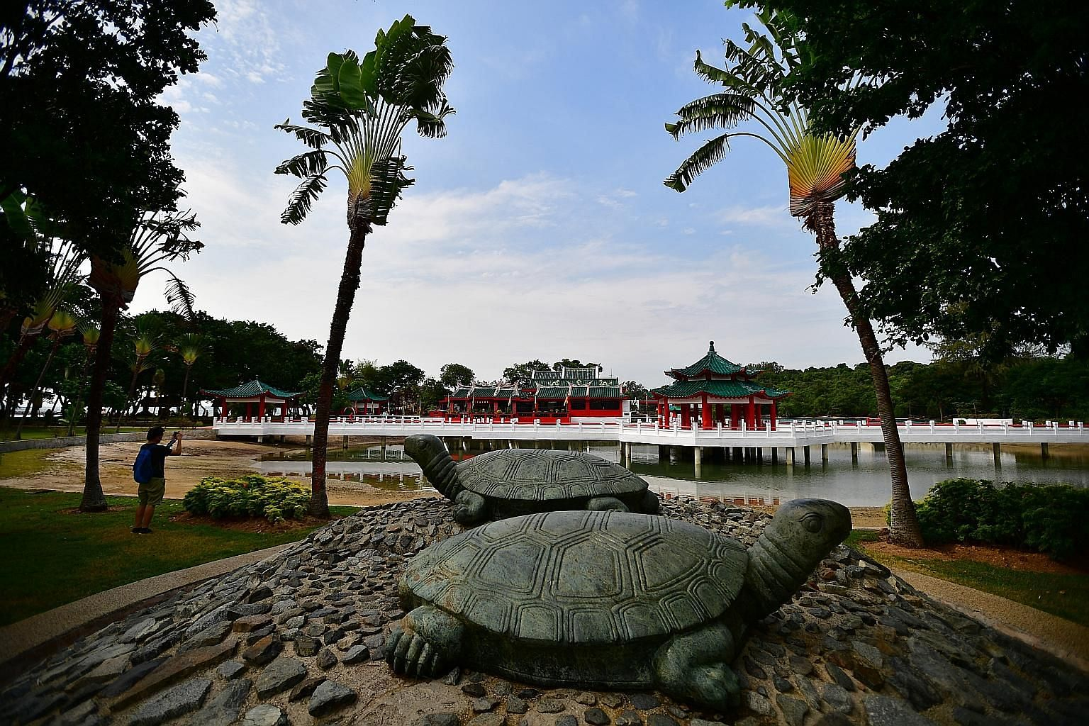 A 2017 file photo of the turtle sculptures and Da Bo Gong (Tua Pek Kong) Temple on Kusu Island, which is also home to three Malay shrines. During the upcoming pilgrimage season from Oct 17 to Nov 14, only 500 visitors a day will be allowed on the isl