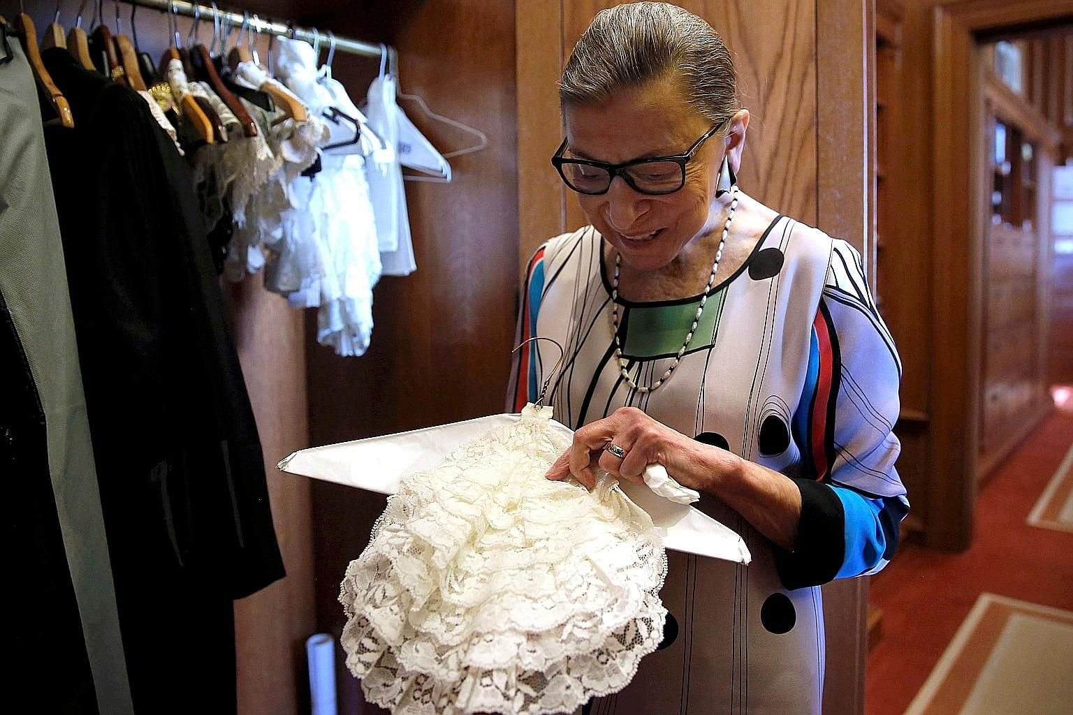 In a photo taken at the US Supreme Court building in Washington in 2016, Justice Ruth Bader Ginsburg showed her collection of collars.